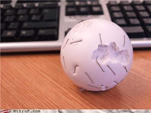 abuse boredom busted chew toy cubical toy cubicle boredom cubicle rage decoration derp destructive foam gnar mangy ocd passive aggressive playtime pwned rage Sad sphere squeeze ball staples stress stress ball toy used and abused wrecked