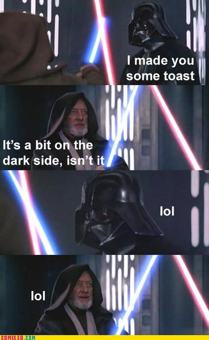 dark side,darth vader,food,Obi won kenobi,puns,star wars