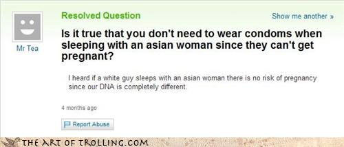 asian,facepalm,myth,pregnancy,sexual education,Yahoo Answer Fails