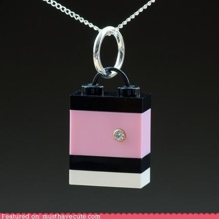 accessory blocks cubic zirconium cz Jewelry ladylike lego necklace pendant toys - 3828270080