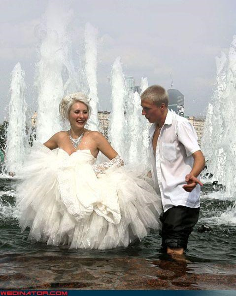 confusing confusing fountain wedding couple Crazy Brides crazy couple in fountain crazy groom fashion is my passion fountain wedding funny wedding photos miscellaneous-oops technical difficulties Tulle unbuttoned-grooms-shirt water were-in-love wet newlyweds wet wedding wtf