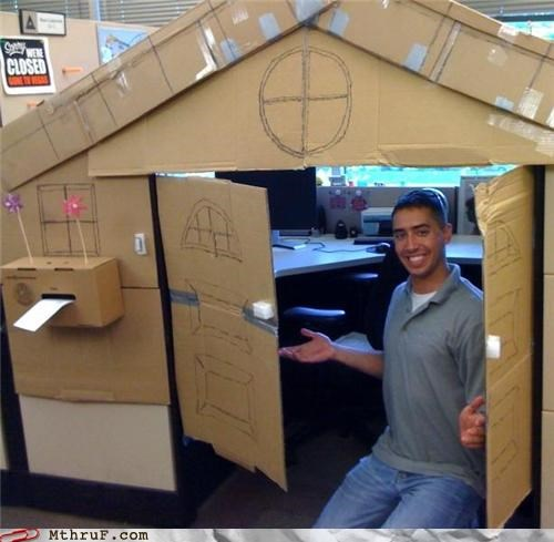 architecture arts and crafts awesome bob vila boredom cardboard creativity in the workplace cubicle boredom cubicle prank decor decoration ingenuity interior design nerd decor screw you sculpture so ronery this old cubicle this old house tragic arts and crafts weekend project work smarter not harder