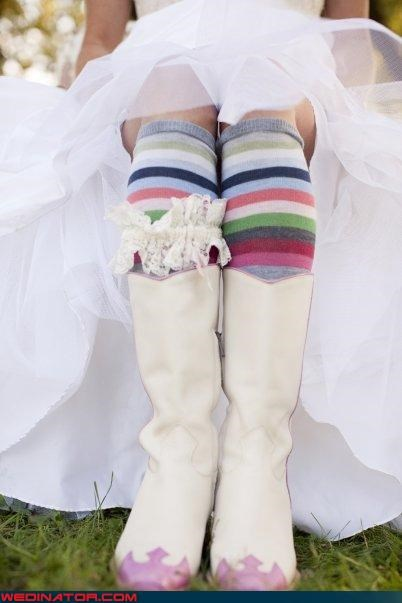 boots bride bride in boots bride striped socks bride white boots wedding day cute bride ensemble fashion is my passion funny wedding photos surprise wedding day socks surprise upskirt wedding day boots Wedding Themes white boots bride