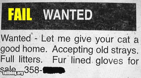 ads business Cats failboat gloves pets Probably bad News wanted ad