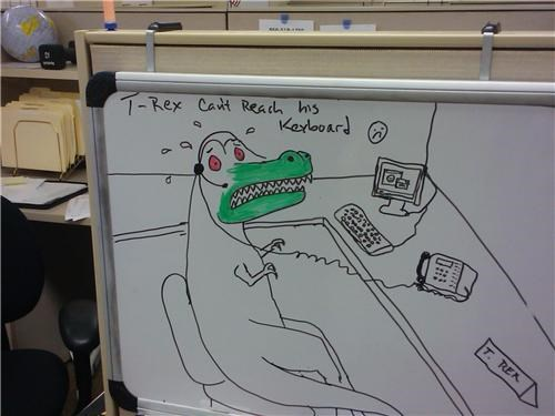 art awesome boredom call center creativity in the workplace cubicle boredom decoration dinosaur doodle drawing ergonomics huffing illustration junkie markers not cut out for cubicle work paint phone headset stubby arms t rex unemployed whiteboard