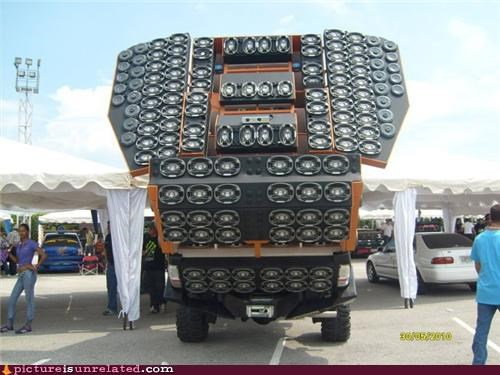 car,OverKill 9000,speakers,wtf