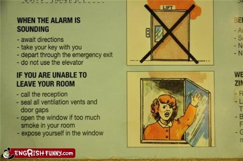 emergencies,expose yourself,fire,instructions