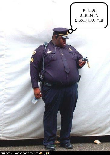 donuts fat food obese phones policeman texting - 3833777664