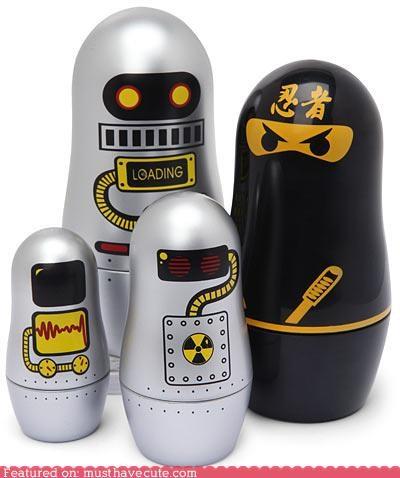 cute-kawaii-stuff-ninja-matryoshkas matroyshka nerdy nesting dolls ninja robot toys - 3833951744