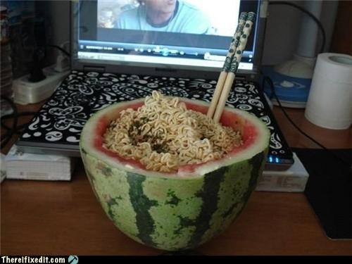 bowl,college,noodles,watermelon