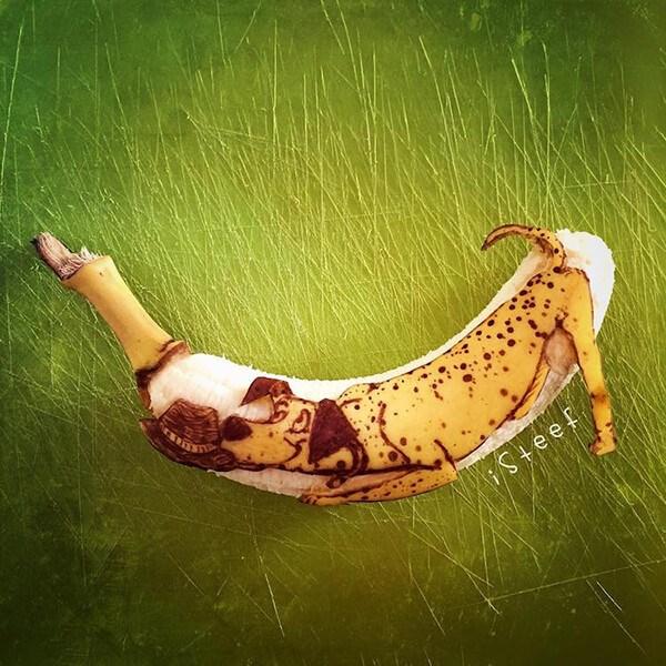 animals curved on banana skin