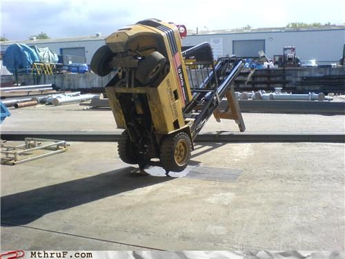 accident busted crash dumb face down ass up forklift hardware mess osha pwned Sad sculpture warehouse whoops wiseass work fail work smarter not harder - 3836130048