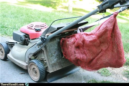 bag,cheap fix,cutting grass,lawnmower