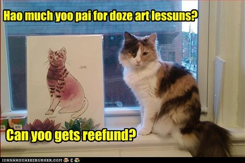 art caption captioned cat how much lessons painting pay price question refund - 3838703872