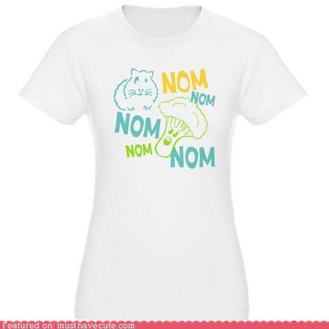 broccoli,clothing,GPig,guinea pig,noms,pets,print,tshirt