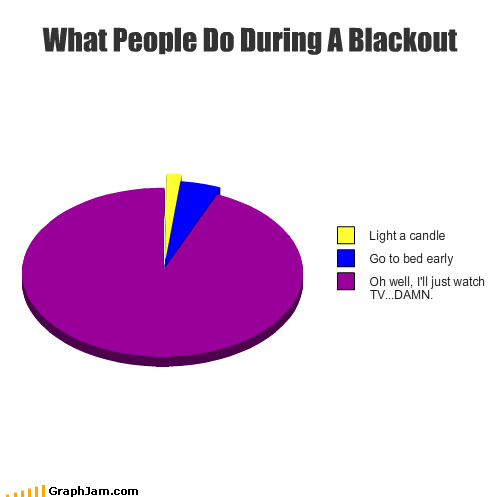 blackout,bored,electricity,no power,Pie Chart