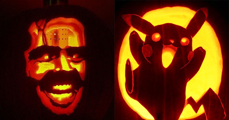 Cool pumpkin carving designs involving Star Wars, anime, game of thrones, harry potter, the wizard of oz, death note, fish, pennywise the clown.