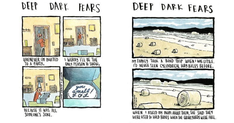 Funny and creepy web comics about deep dark fears.