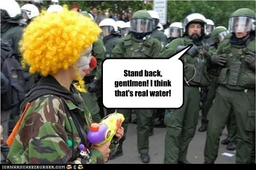 clown cops funny lolz police Protest wtf - 3841352192