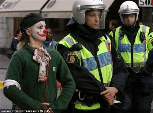 captionable,clown,cop,funny,police