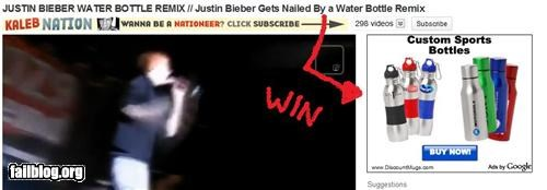 failboat,justin bieber,Video,water bottle,win