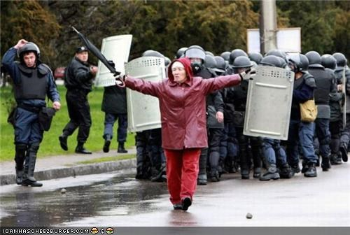 captionable,cops,funny,lady,police,Protest