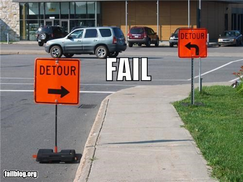 confusing,detour,failboat,street,traffic signs
