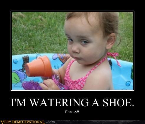 baby kids oi pool Pure Awesome swearing watering a shoe wtf - 3847843328