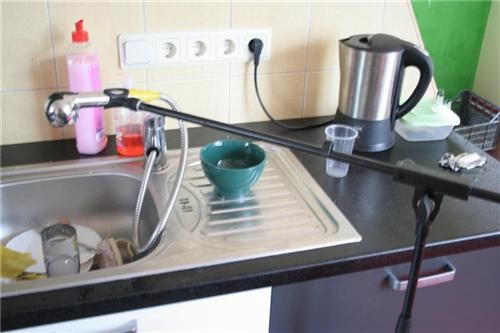 boom stand,kitchen,microphone,sink
