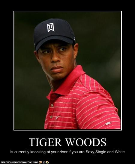 TIGER WOODS Is currently knocking at your door if you are Sexy,Single and White