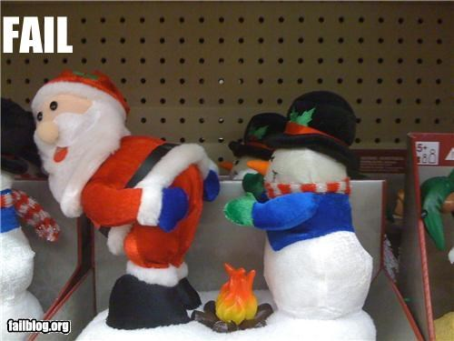 failboat figurines fire keeping warm santa snowmen Things That Are Doing It - 3848545024