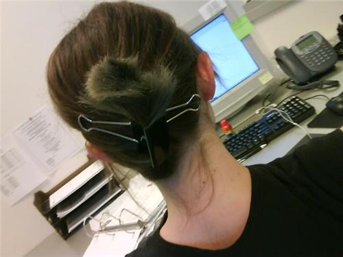 awesome co-workers not basic instructions boredom bun clothing creativity in the workplace cubicle boredom depressing fashion hair hair bun hair care hardware ingenuity lazy nipple clamps up-do wiseass work smarter not harder - 3848929536