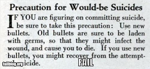 bullets double whammy failboat germs guns infections medical prevention suicide warning - 3849760256