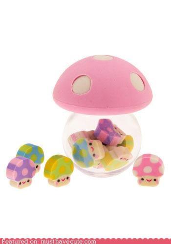 cute erasers Japanese erasers mushroom erasers - 3850370304