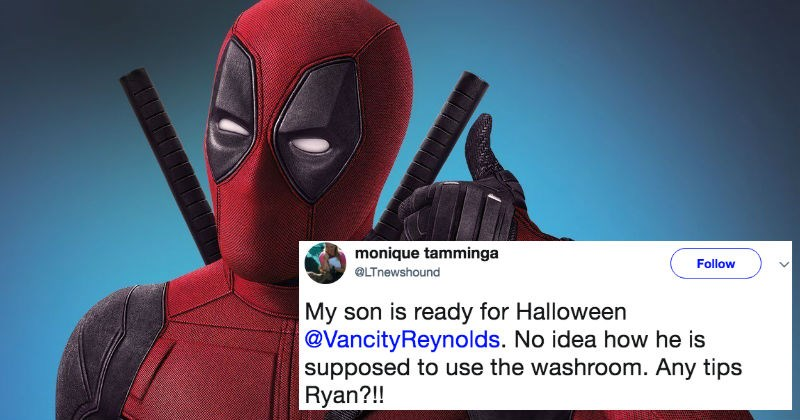 Ryan Reynolds has the perfect response on Twitter to a dad who asks question about how his son can use restroom with Deadpool costume.