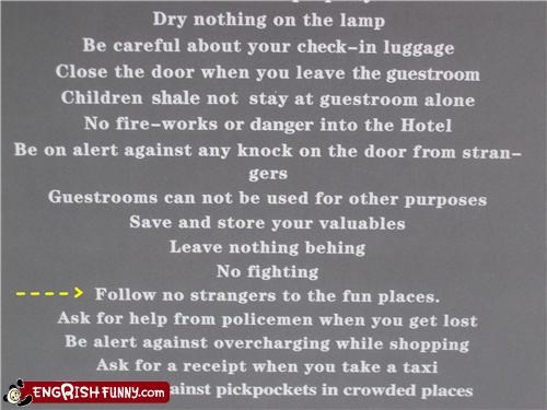 fun places,hotels,signs,warnings