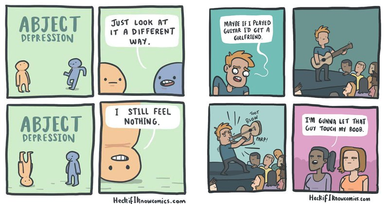 Funny web comics from Heck If I Know comics.