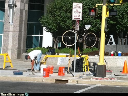 bicycle,bike lock,construction,punishment