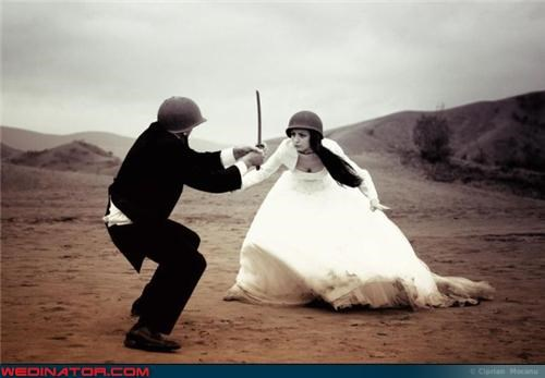 army,army helmets,bw,Crazy Brides,crazy groom,fashion is my passion,fight to the death do them part,funny wedding photos,ominous,sword fight,technical difficulties,till-death-do-us-part,war-wedding-theme,were-in-love,Wedding Themes,wtf