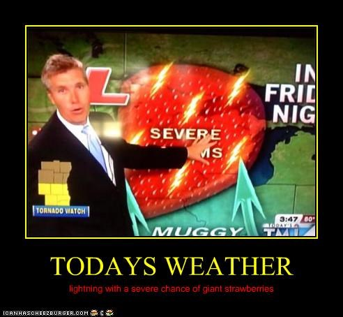 TODAYS WEATHER lightning with a severe chance of giant strawberries