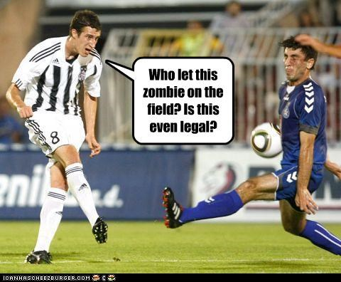 Who let this zombie on the field? Is this even legal?