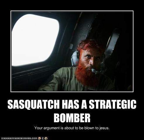 beards,bomber,military,plane,sasquatch,soldier