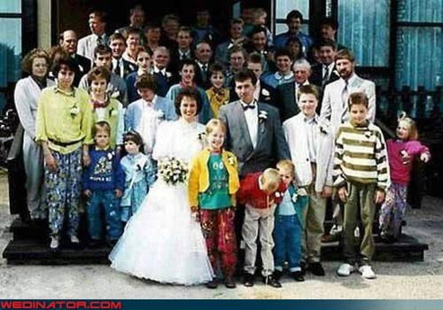 barf,bride,eww,family wedding picture 80s,funny wedding photos,groom,kid puking at wedding,miscellaneous-oops,stirrup pants,surprise,technical difficulties,terrible 80s clothes,unfortunate accident,were-in-love,wedding party,wedding photo FAIL,wtf