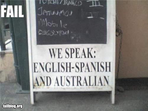 australian english failboat Hall of Fame sign spanish Trilingual