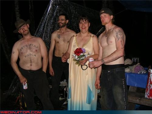 Crazy Brides crazy groom eww fashion is my passion funny wedding photos Goodwill wedding dress mannish bride PBR wedding redneck redneck wedding scary tattoo shirtless shirtless groomsmen shirtless wedding Smokey the Bear tattoo ugly wedding dress were-in-love wedding party white trash wedding wtf