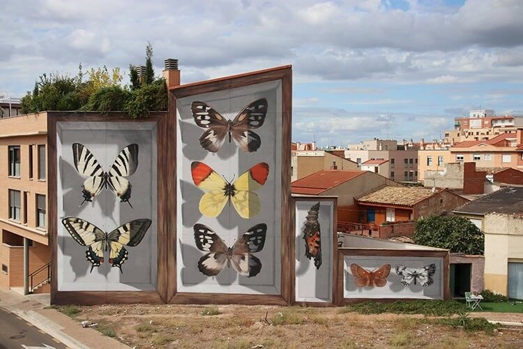 street art of giant butterflies
