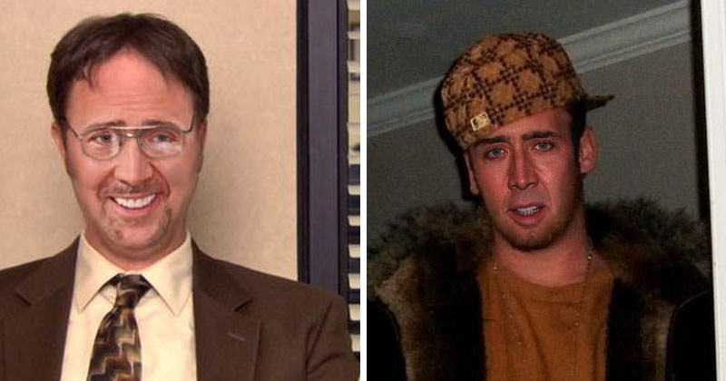 Funny photoshop memes of nic cage as Dwight from office and Scumback Steve, with list of lots of other celebrities, harry potter, star trek, star wars, amy winehouse.