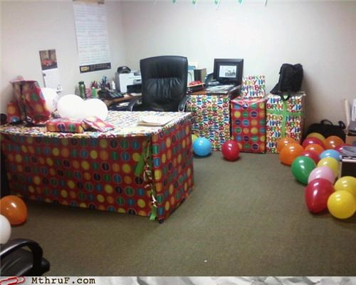 awesome co-workers not Balloons boredom cubicle boredom cubicle prank decoration depressing dickhead co-workers dumb gift wrapping happy birthday mess not clever prank pwned sass screw you sneaky stupid unoriginal prank i hate you guys unoriginal wasteful wiseass wrapping wrapping paper - 3866017024
