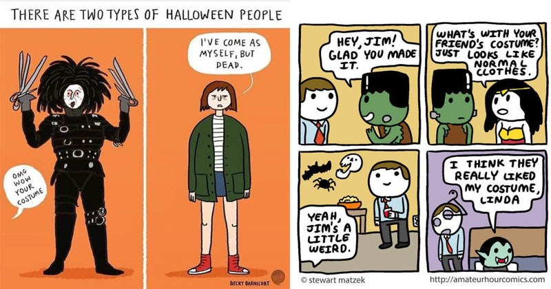 Funny comics about Halloween, halloween costumes, web comics.