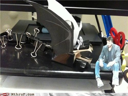arts and crafts binder clips boredom creativity in the workplace cubicle boredom cubicle decor decoration depressing dumb keanu keanu reeves papercraft Sad sad keanu sculpture so lonely tragic arts and crafts - 3866864128